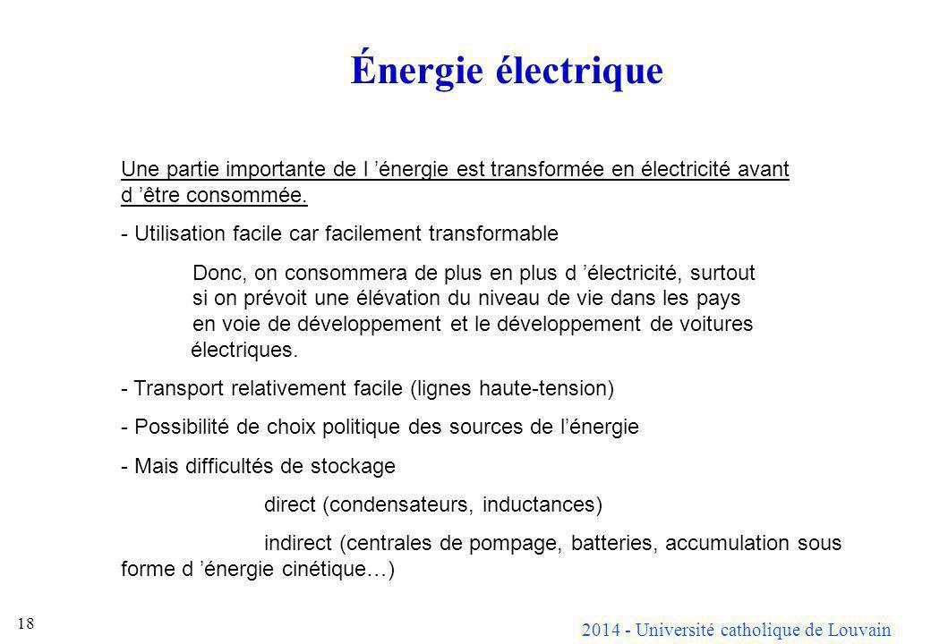 Énergie électrique Une partie importante de l 'énergie est transformée en électricité avant d 'être consommée.