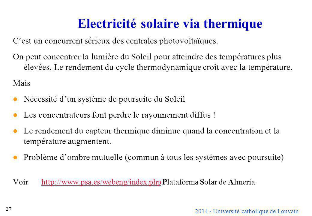 Electricité solaire via thermique