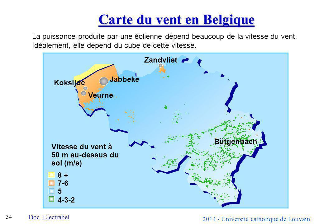 Carte du vent en Belgique