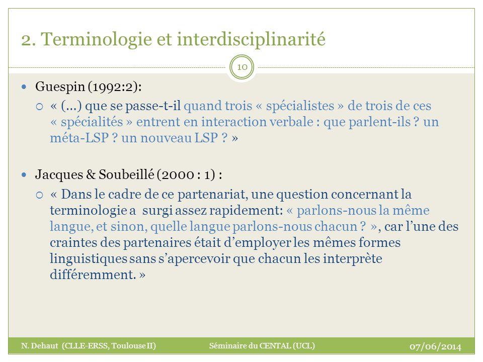2. Terminologie et interdisciplinarité