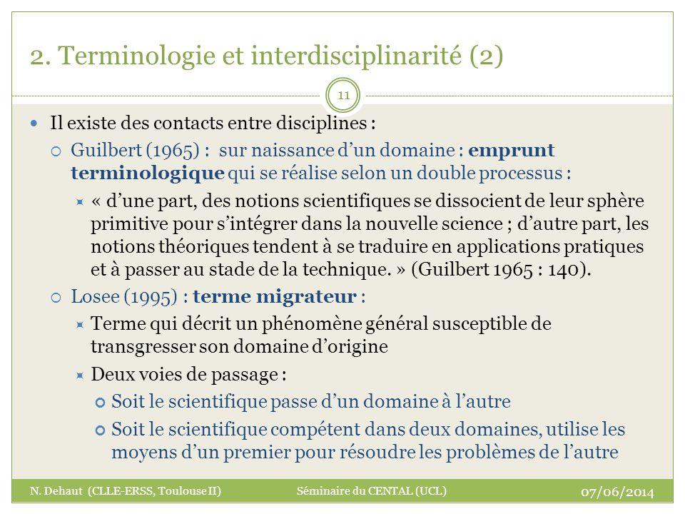 2. Terminologie et interdisciplinarité (2)