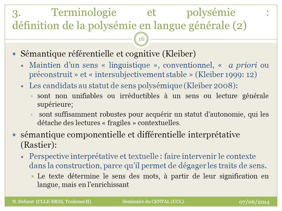 3. Terminologie et polysémie : définition de la polysémie en langue générale (2)