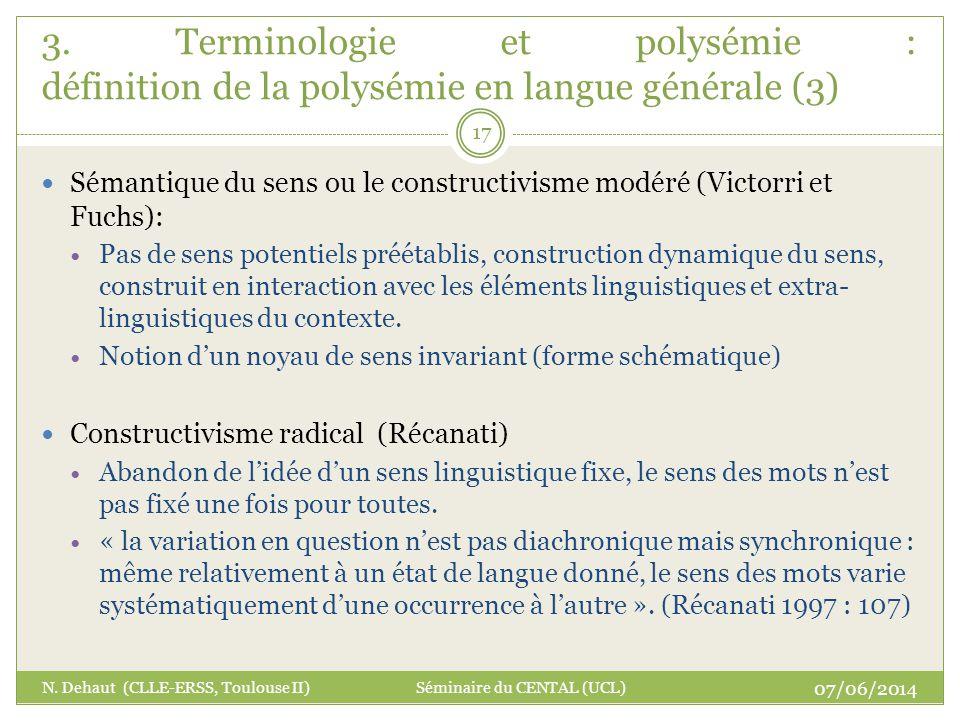 3. Terminologie et polysémie : définition de la polysémie en langue générale (3)