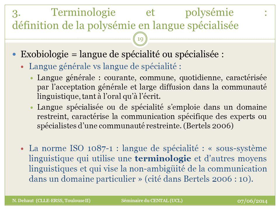 3. Terminologie et polysémie : définition de la polysémie en langue spécialisée