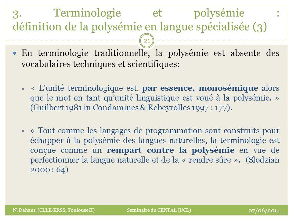 3. Terminologie et polysémie : définition de la polysémie en langue spécialisée (3)