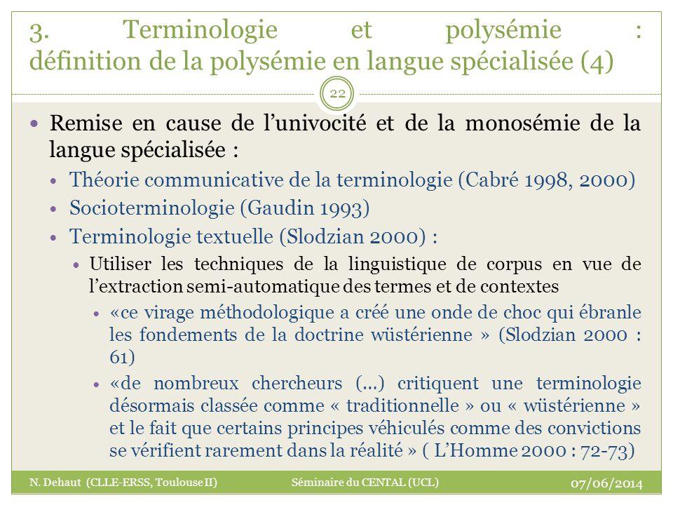 3. Terminologie et polysémie : définition de la polysémie en langue spécialisée (4)