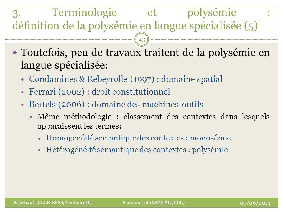 3. Terminologie et polysémie : définition de la polysémie en langue spécialisée (5)