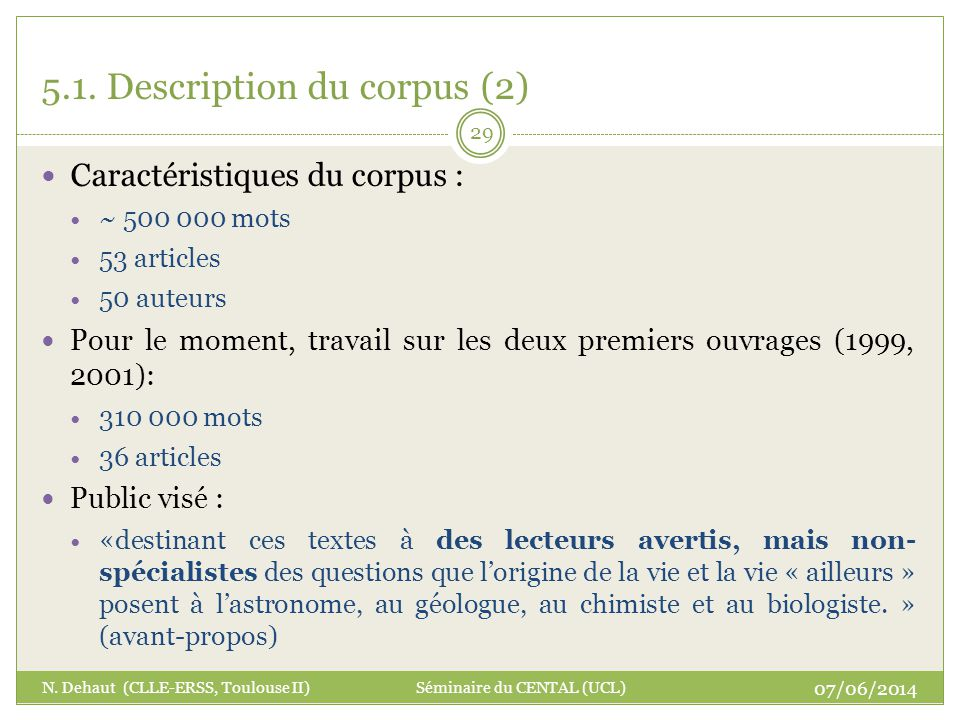 5.1. Description du corpus (2)