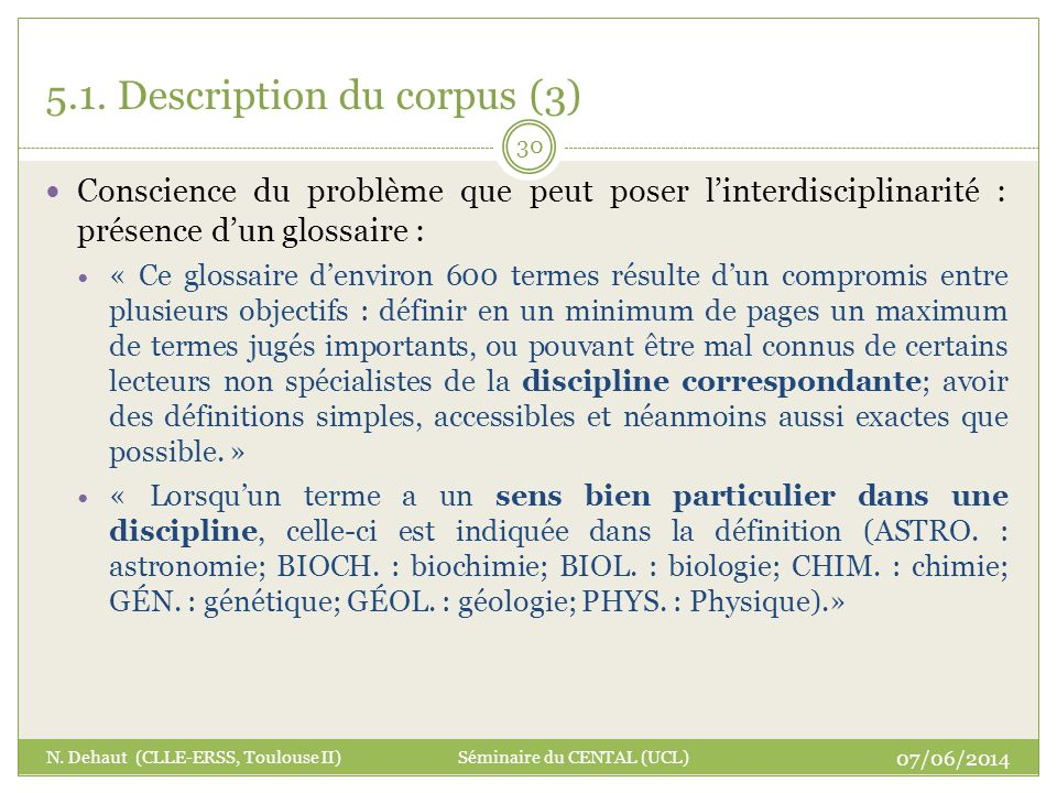 5.1. Description du corpus (3)