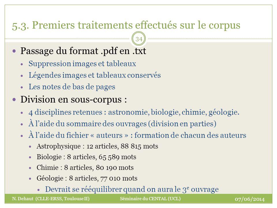 5.3. Premiers traitements effectués sur le corpus