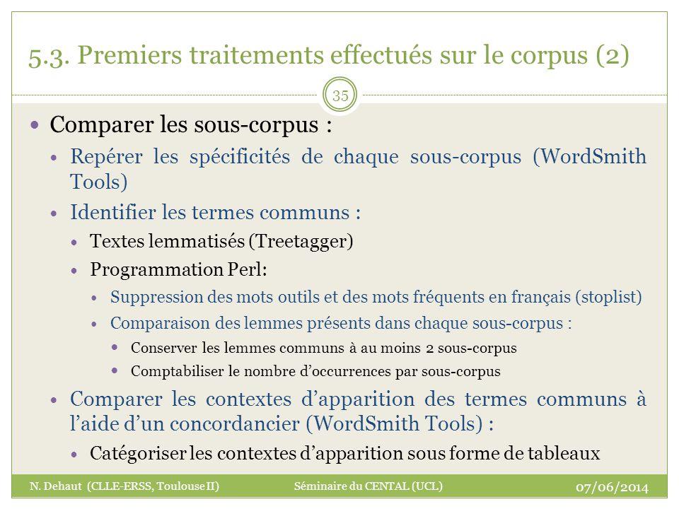 5.3. Premiers traitements effectués sur le corpus (2)