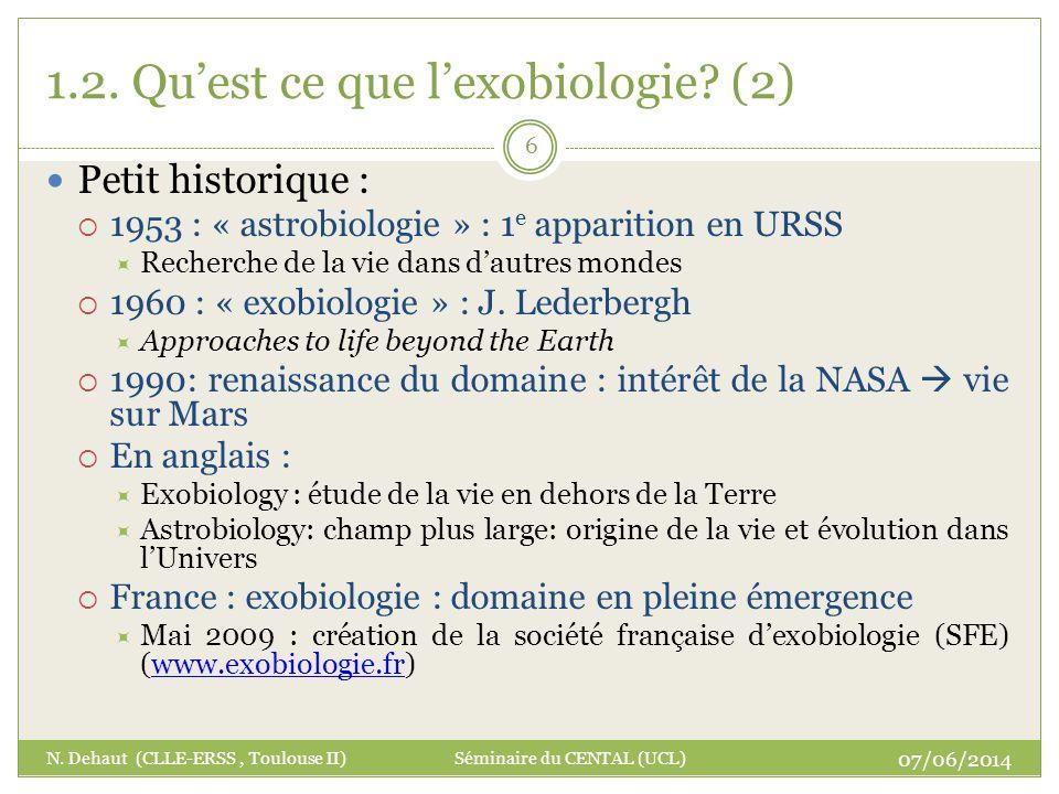 1.2. Qu'est ce que l'exobiologie (2)