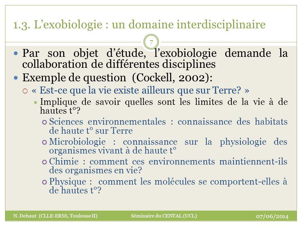 1.3. L'exobiologie : un domaine interdisciplinaire