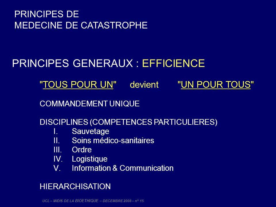 PRINCIPES GENERAUX : EFFICIENCE