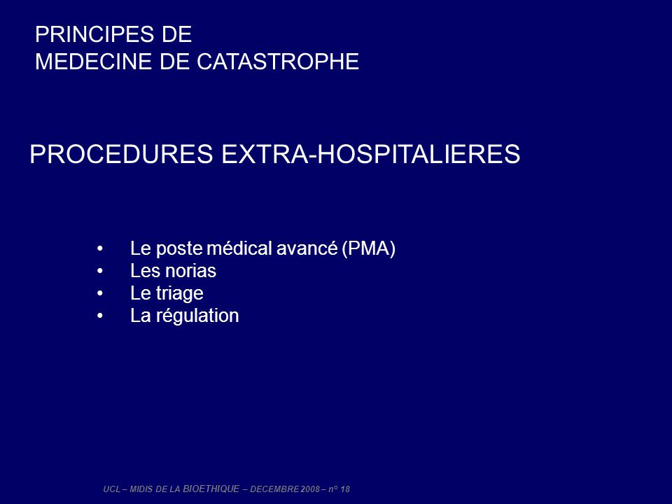 PROCEDURES EXTRA-HOSPITALIERES