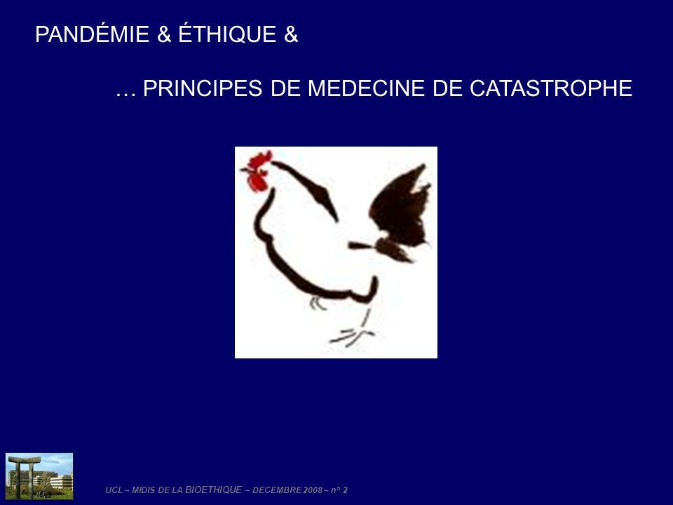 PANDÉMIE & ÉTHIQUE & … PRINCIPES DE MEDECINE DE CATASTROPHE