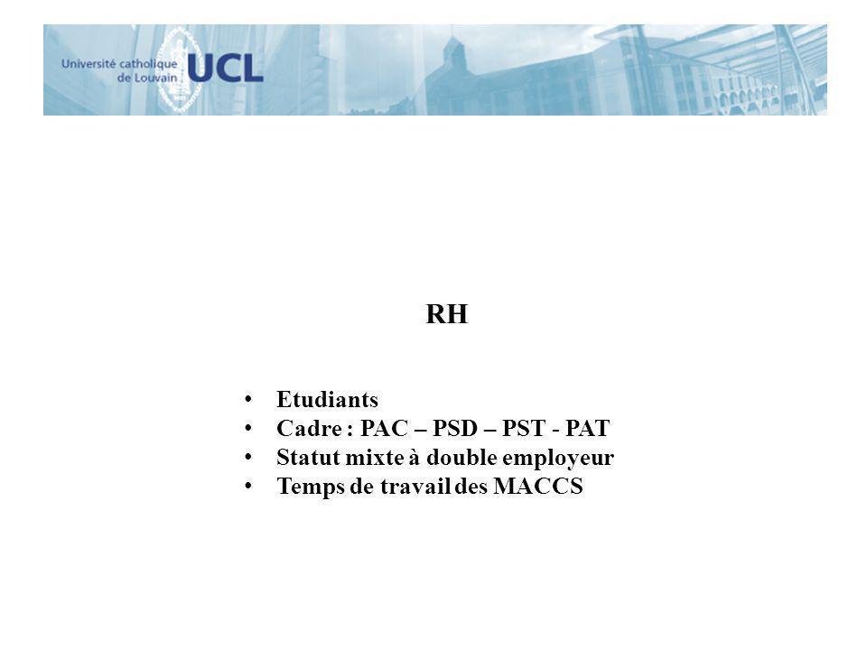 RH Etudiants Cadre : PAC – PSD – PST - PAT
