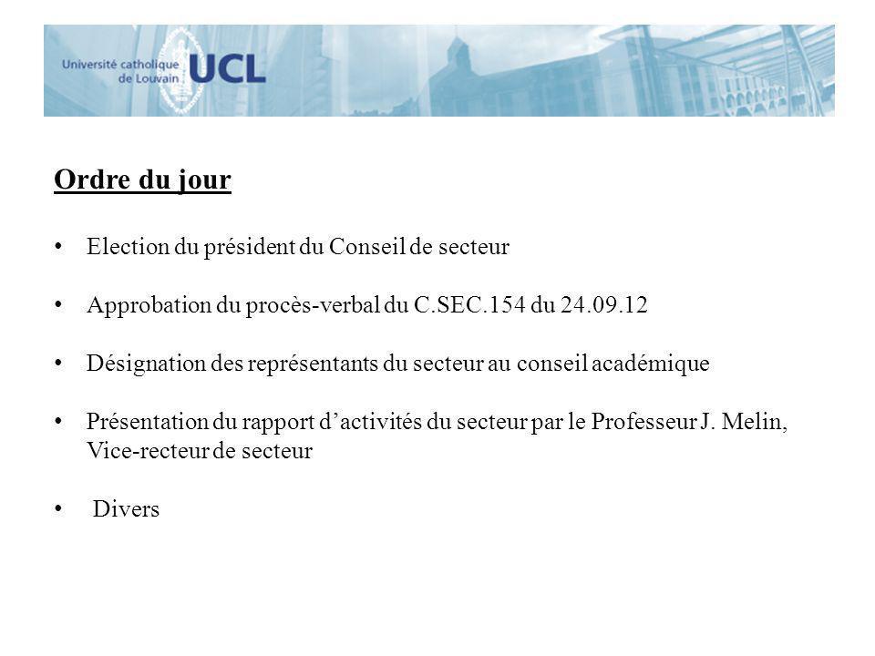 Ordre du jour Election du président du Conseil de secteur