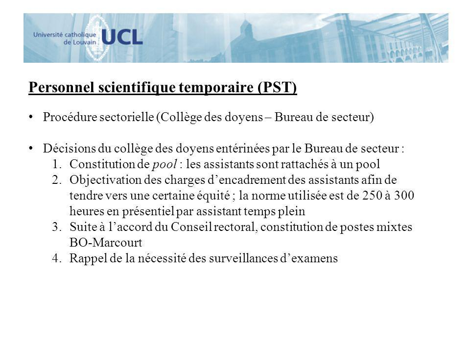 Personnel scientifique temporaire (PST)