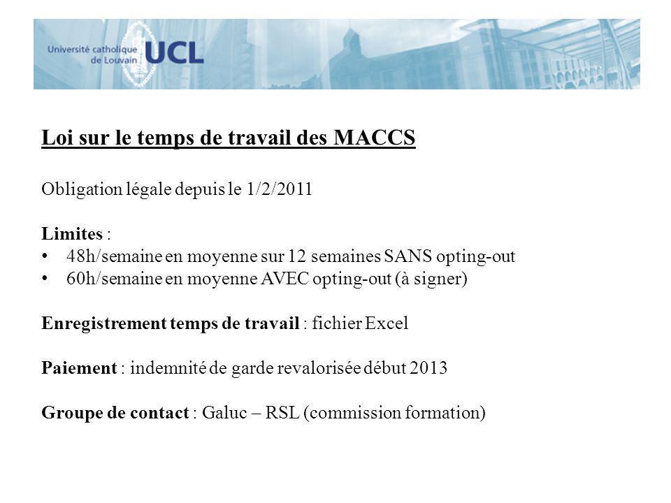 Loi sur le temps de travail des MACCS