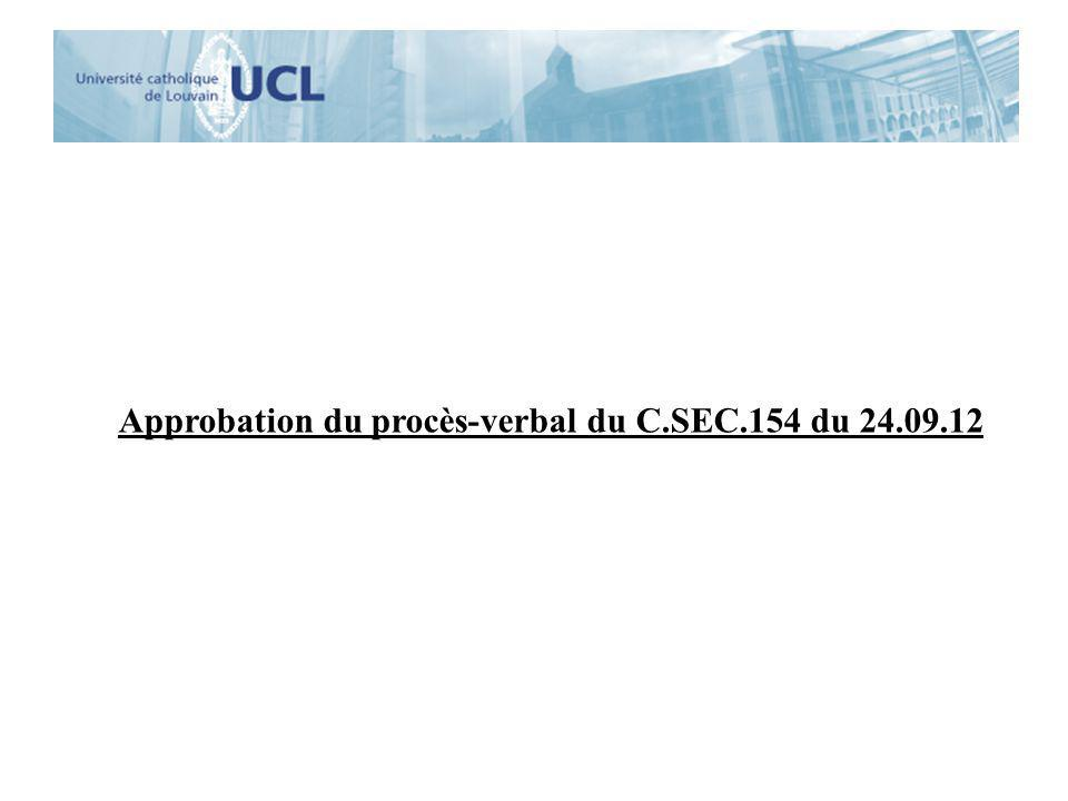 Approbation du procès-verbal du C.SEC.154 du 24.09.12
