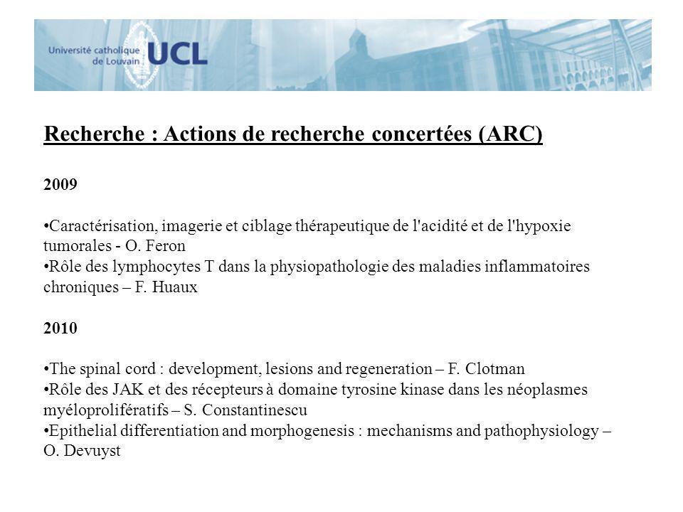 Recherche : Actions de recherche concertées (ARC)