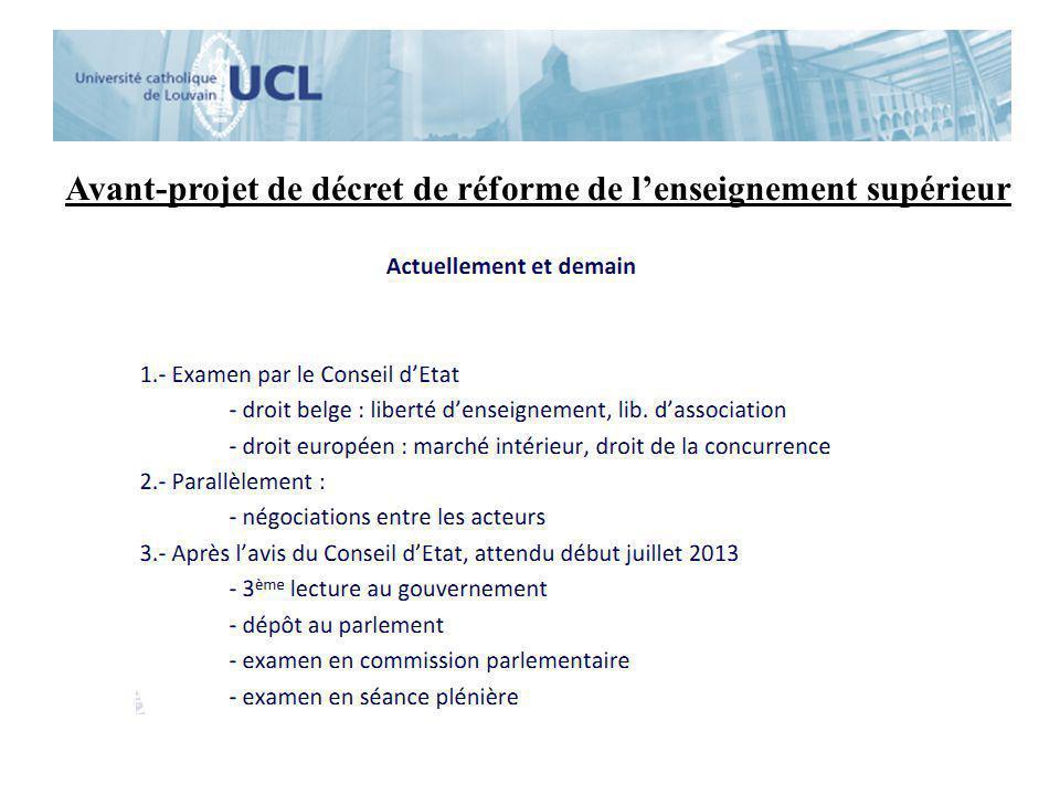 Avant-projet de décret de réforme de l'enseignement supérieur