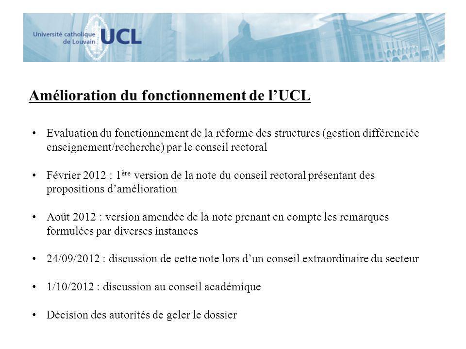 Amélioration du fonctionnement de l'UCL