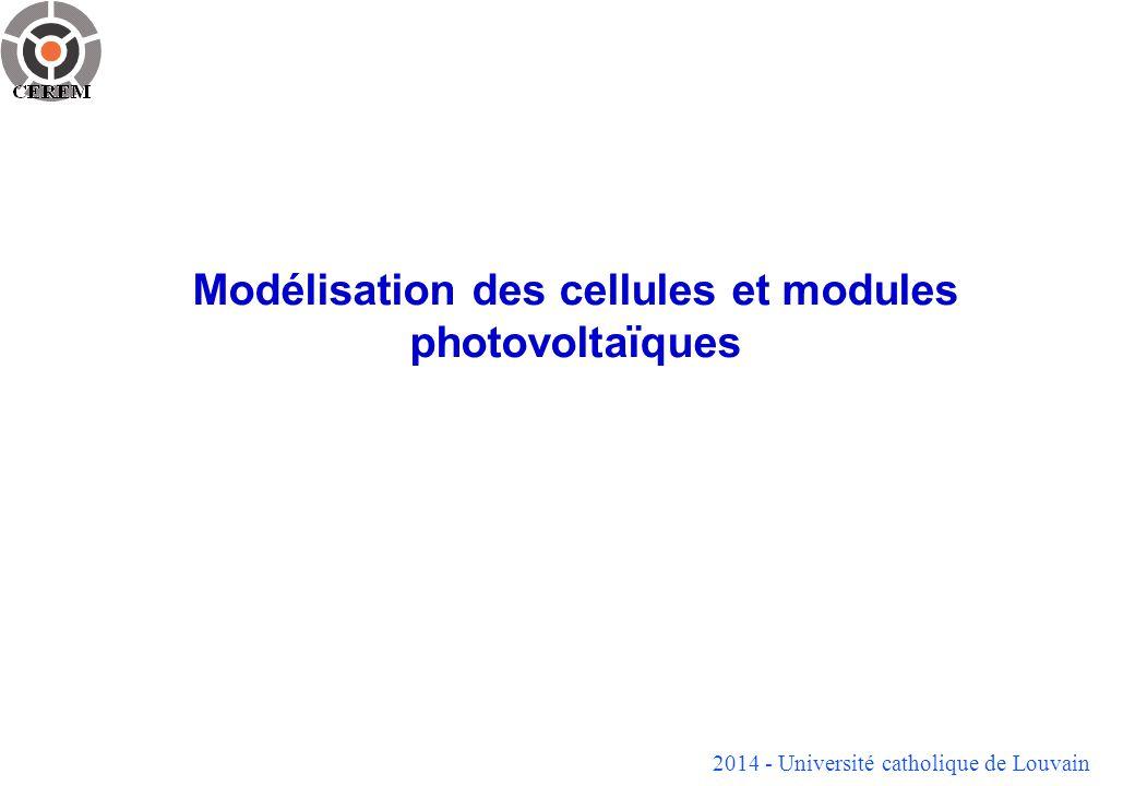Modélisation des cellules et modules photovoltaïques