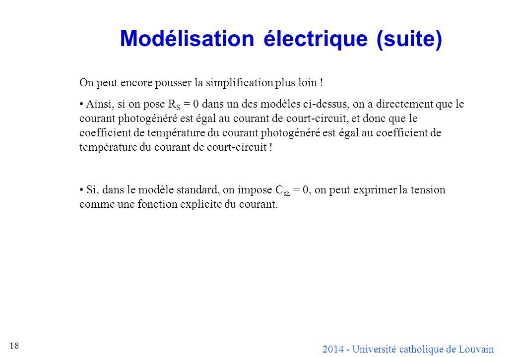 Modélisation électrique (suite)