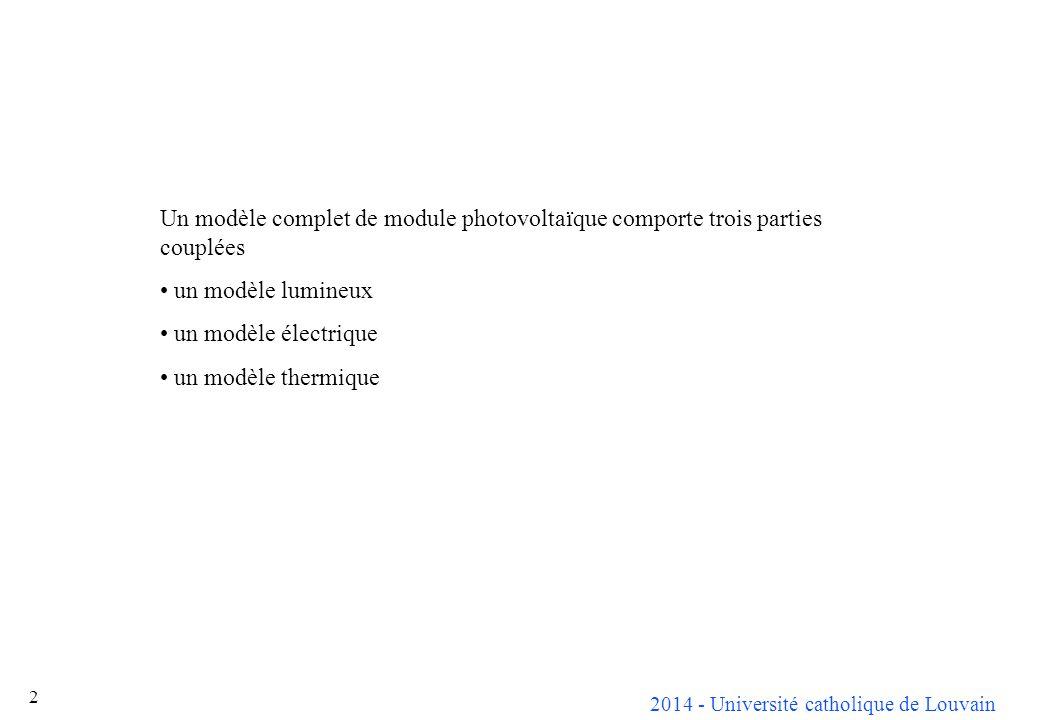 Un modèle complet de module photovoltaïque comporte trois parties couplées