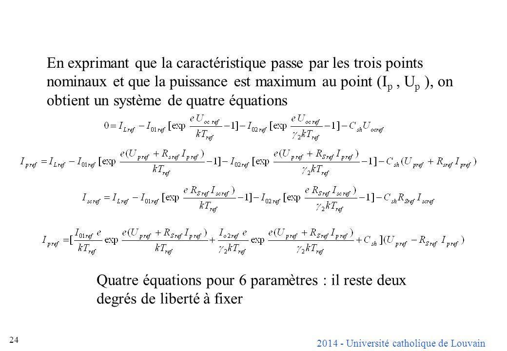 En exprimant que la caractéristique passe par les trois points nominaux et que la puissance est maximum au point (Ip , Up ), on obtient un système de quatre équations