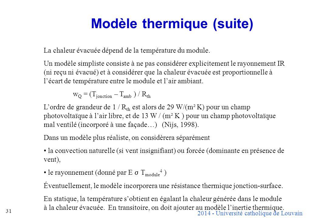 Modèle thermique (suite)