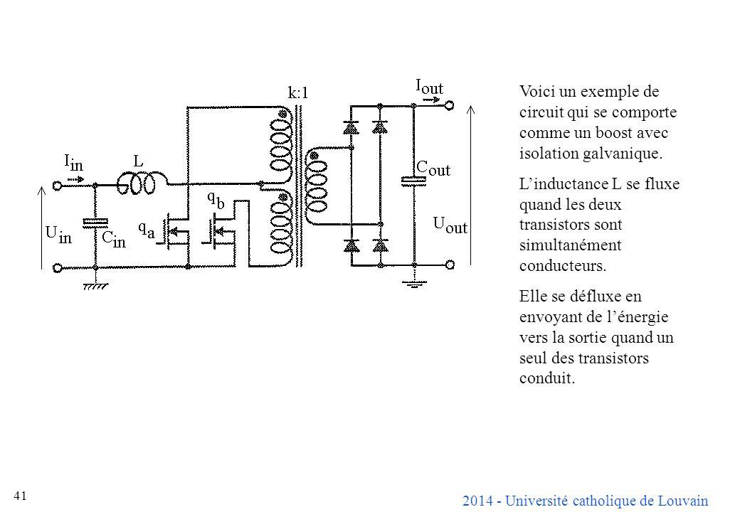 Voici un exemple de circuit qui se comporte comme un boost avec isolation galvanique.