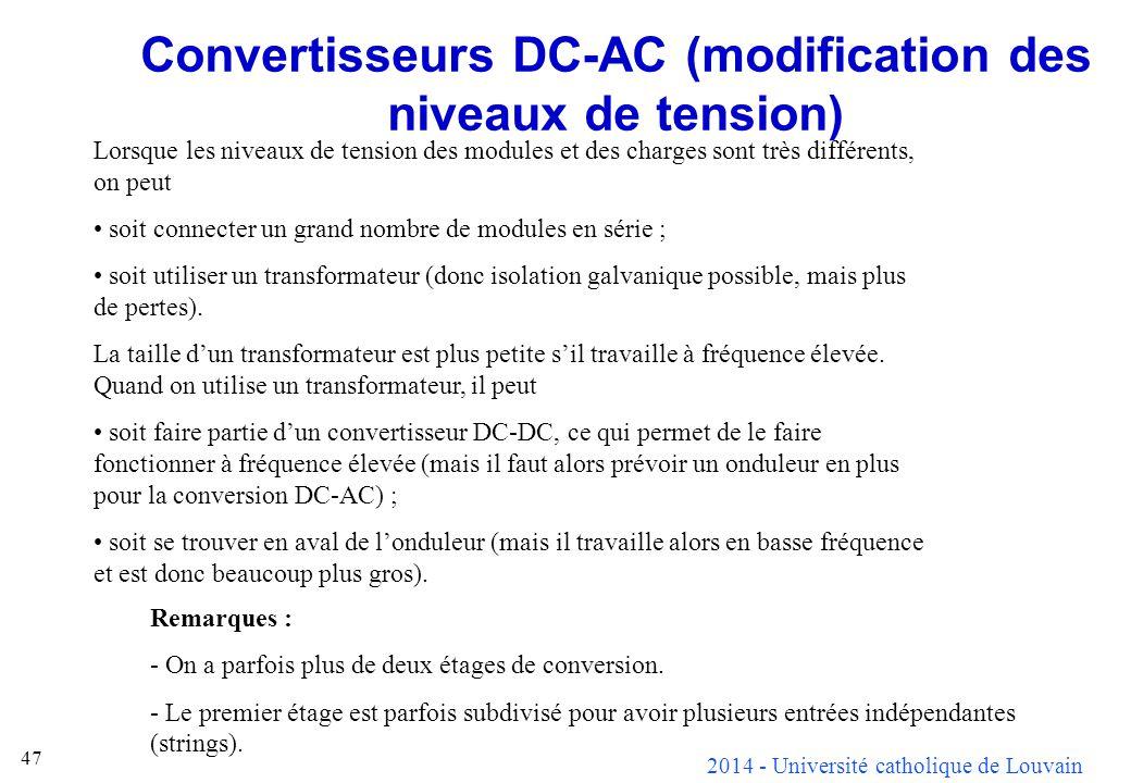 Convertisseurs DC-AC (modification des niveaux de tension)