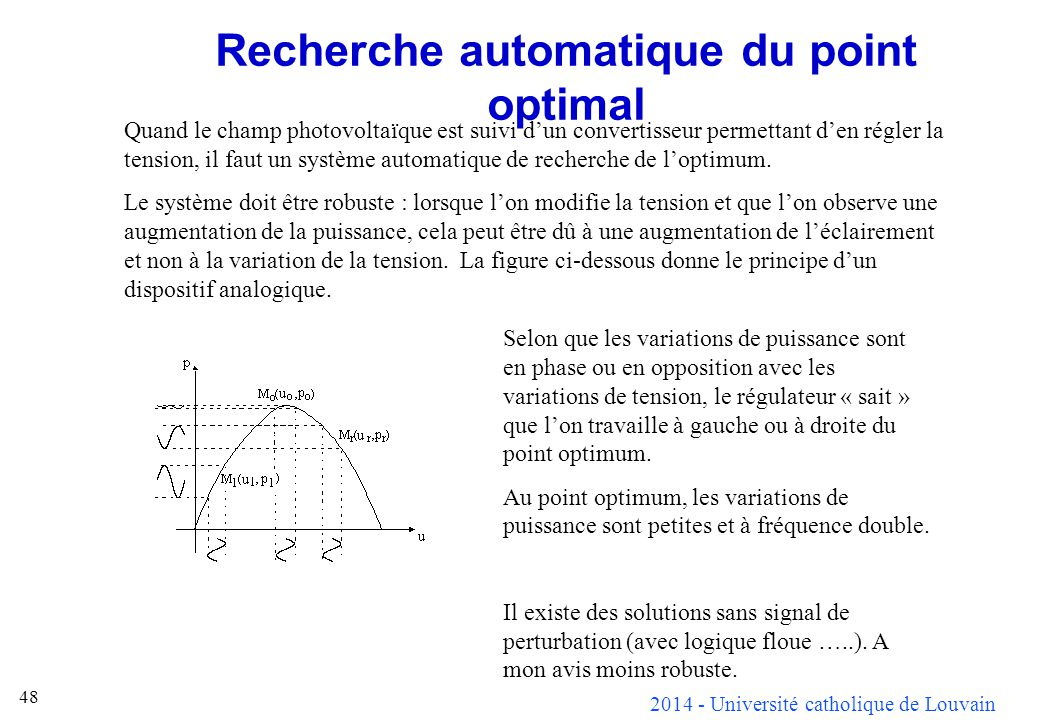 Recherche automatique du point optimal