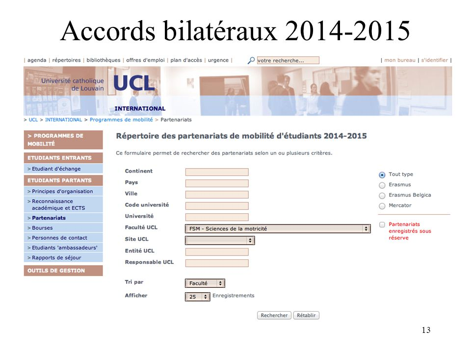Accords bilatéraux 2014-2015