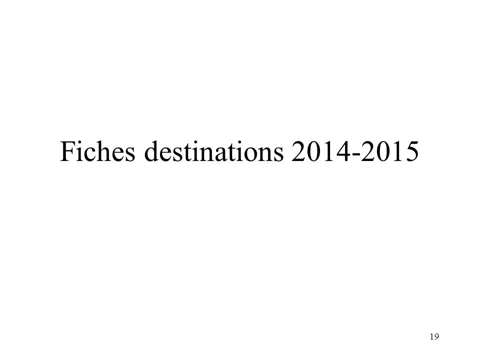 Fiches destinations 2014-2015