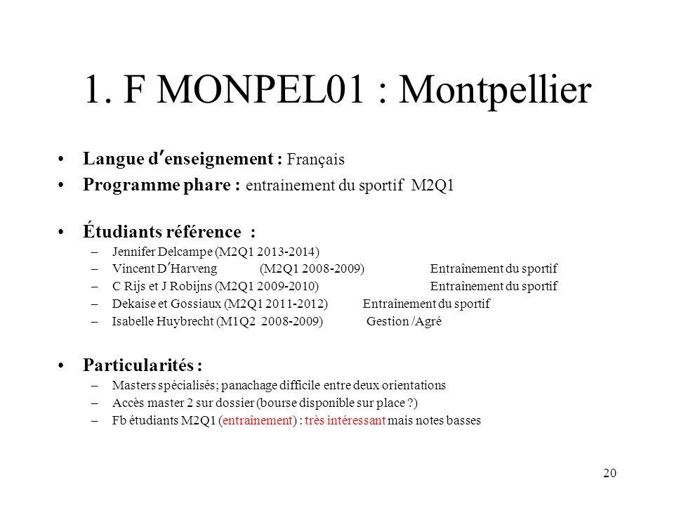 1. F MONPEL01 : Montpellier Langue d'enseignement : Français