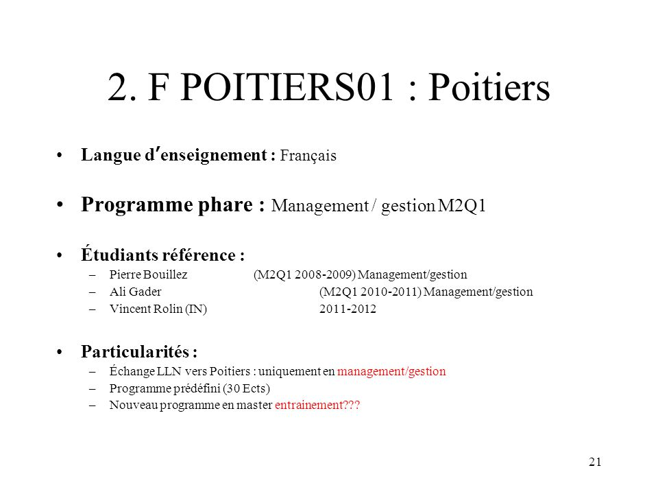 2. F POITIERS01 : Poitiers Programme phare : Management / gestion M2Q1