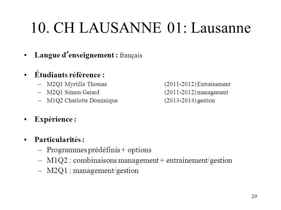10. CH LAUSANNE 01: Lausanne Langue d'enseignement : français