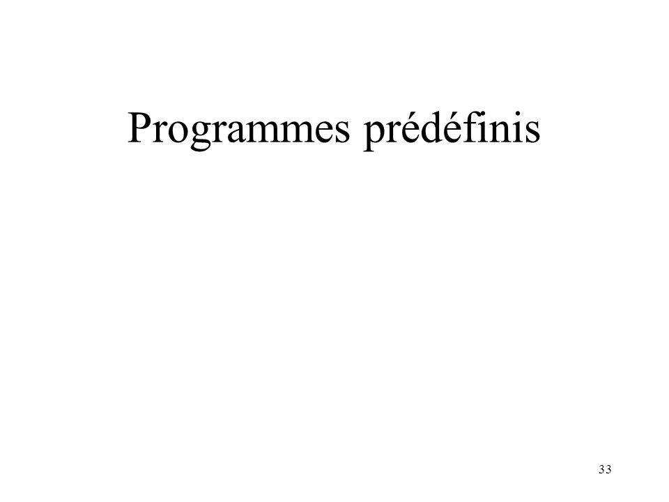 Programmes prédéfinis