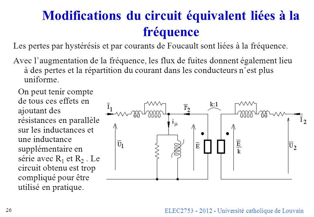 Modifications du circuit équivalent liées à la fréquence