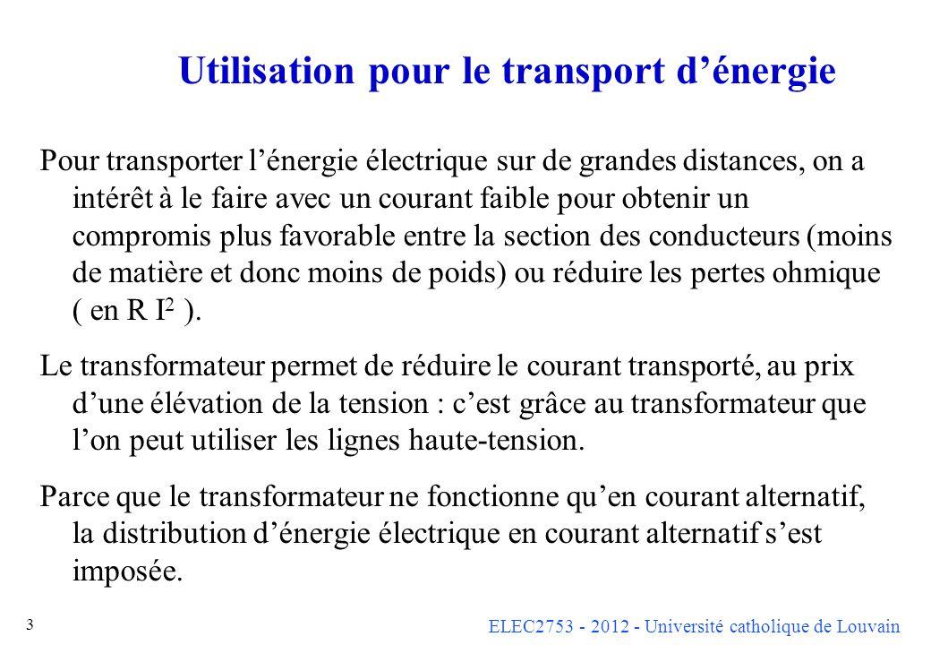 Utilisation pour le transport d'énergie