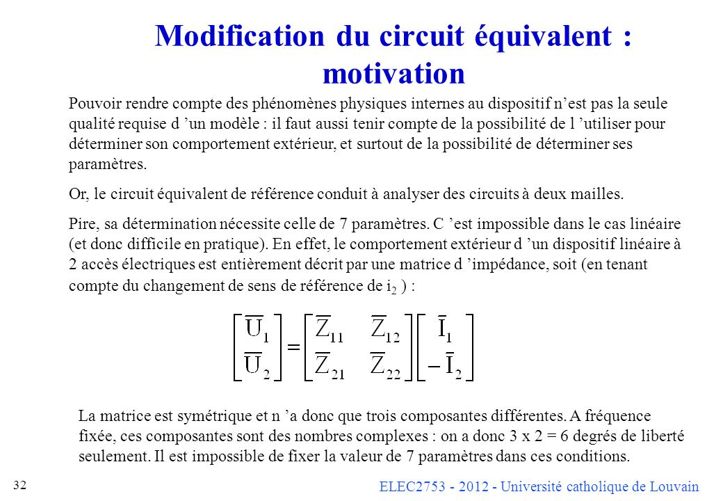 Modification du circuit équivalent : motivation