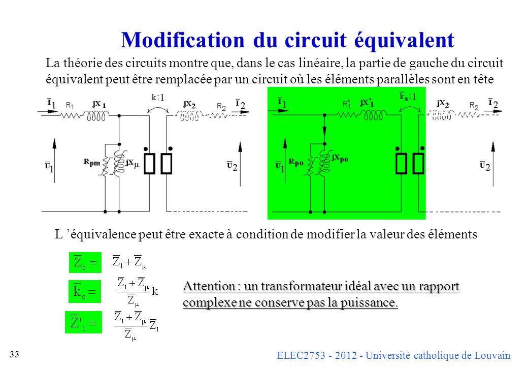Modification du circuit équivalent