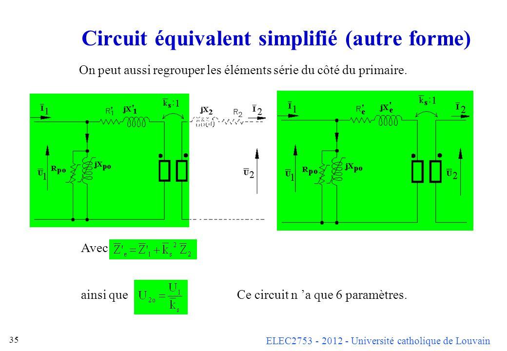 Circuit équivalent simplifié (autre forme)