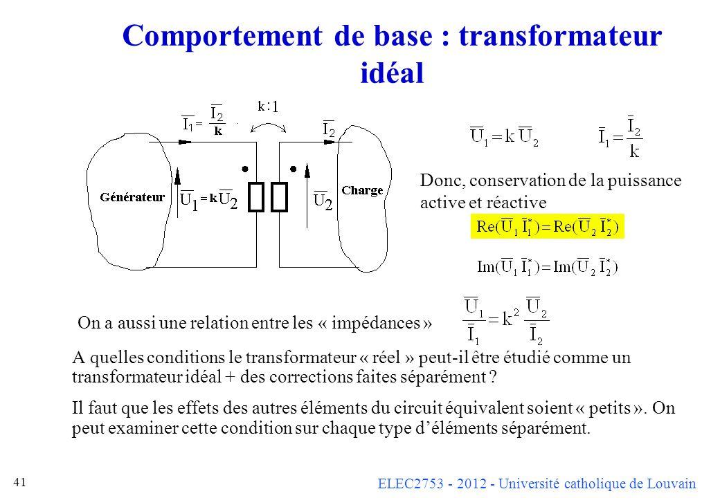 Comportement de base : transformateur idéal