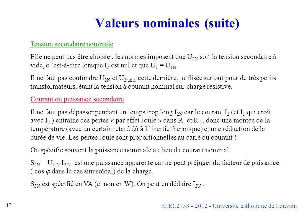 Valeurs nominales (suite)