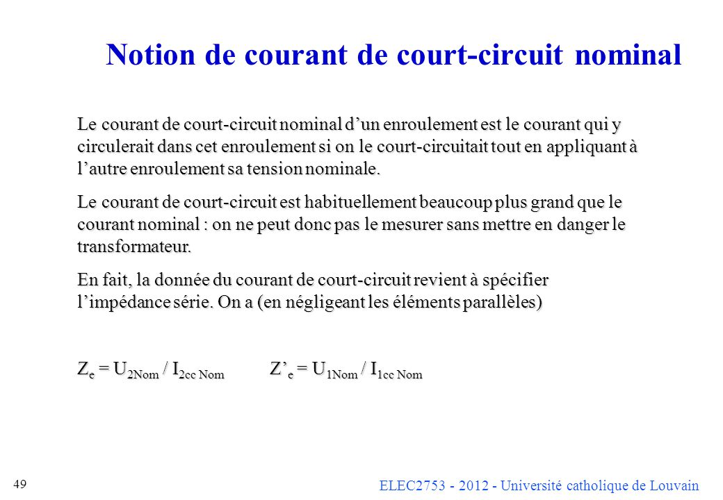 Notion de courant de court-circuit nominal